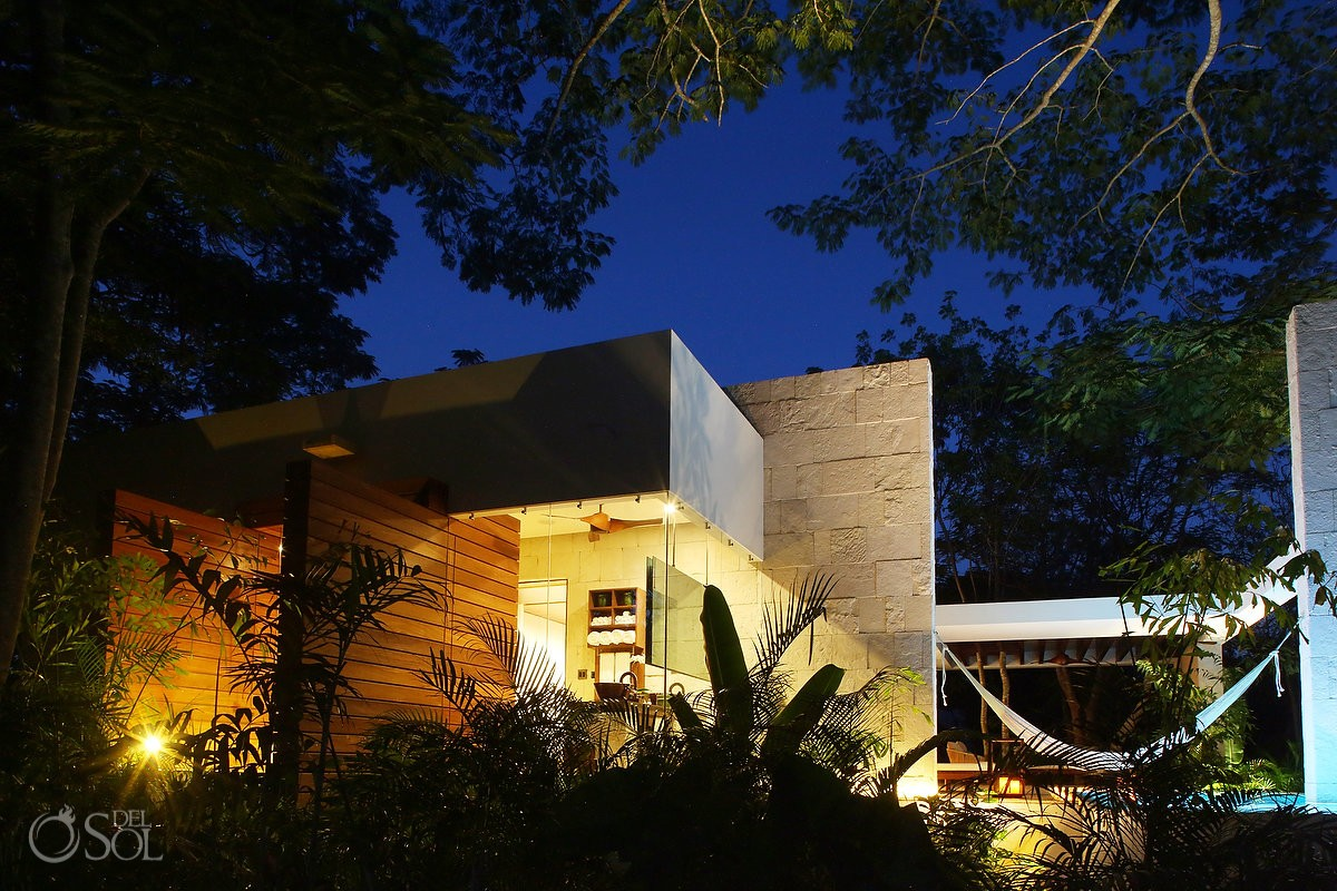 View of the suite after sunset at Chable Resort Merida Yucatan
