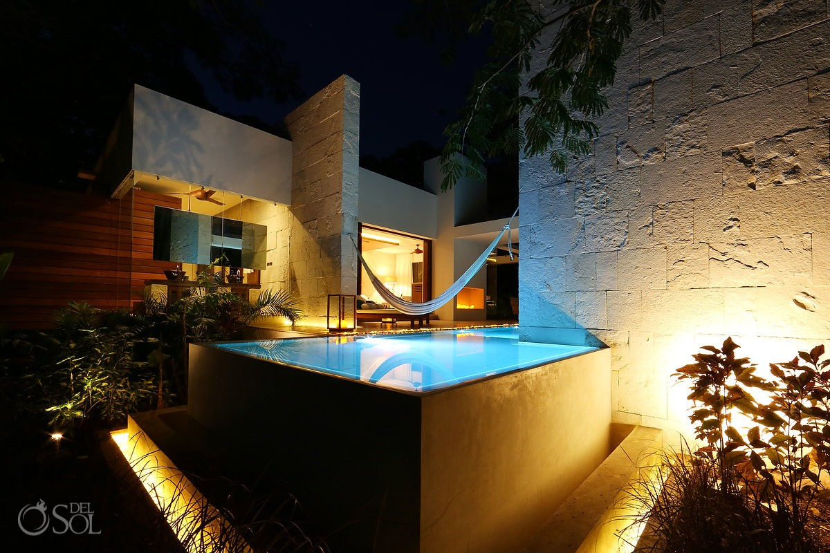 Contemporary Plunge pool at Suite. Chable resort in Merida