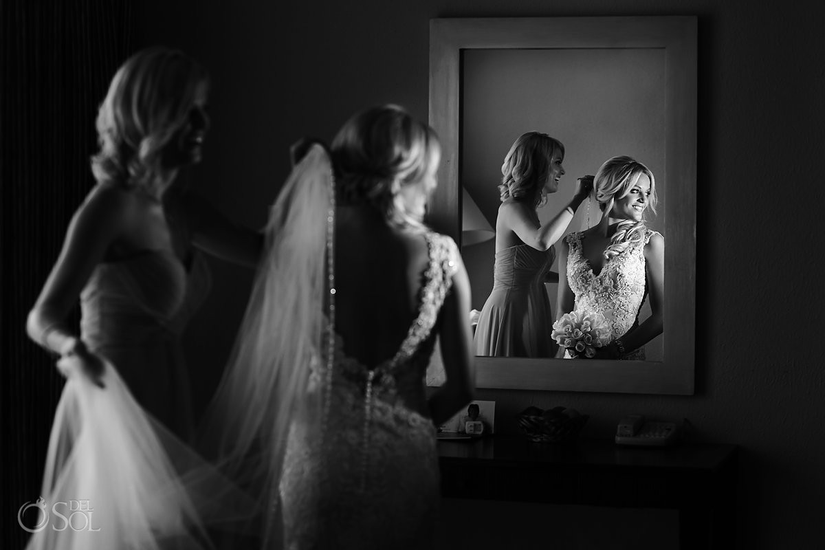 Bride at Iberostar cancun in wedding gown by Allure bridal