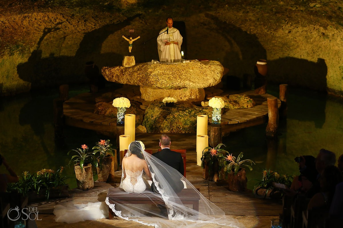 Entrance of the Bride to a Catholic Wedding Ceremony in the Chapel of Guadalupe at Xcaret Part, Playa del Carmen, Mexico