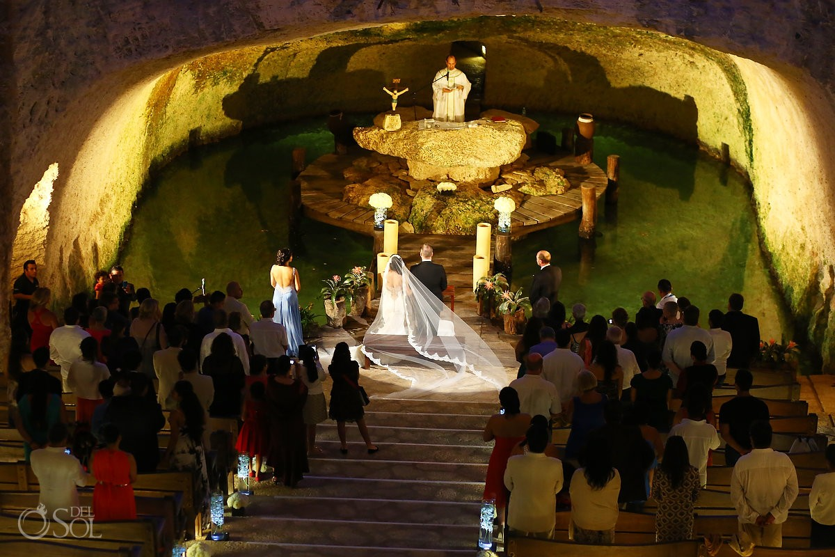 Wedding Ceremony in the Chapel of Guadalupe at Xcaret Part, Playa del Carmen, Mexico
