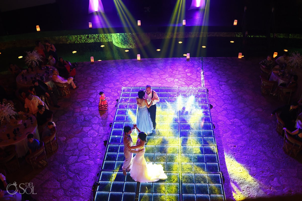 Lit LED Dance floor at a wedding reception at La Isla restaurant in Xcaret Park, Riviera Maya, Mexico