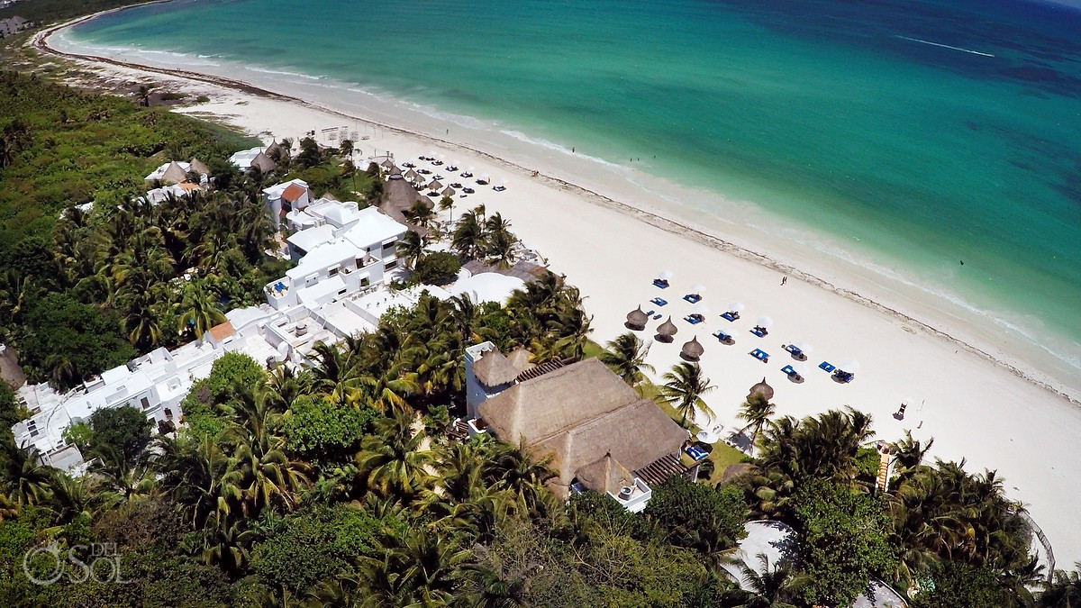 Aerial drone photograph at Belmond maroma resort and spa, riviera maya mexico.