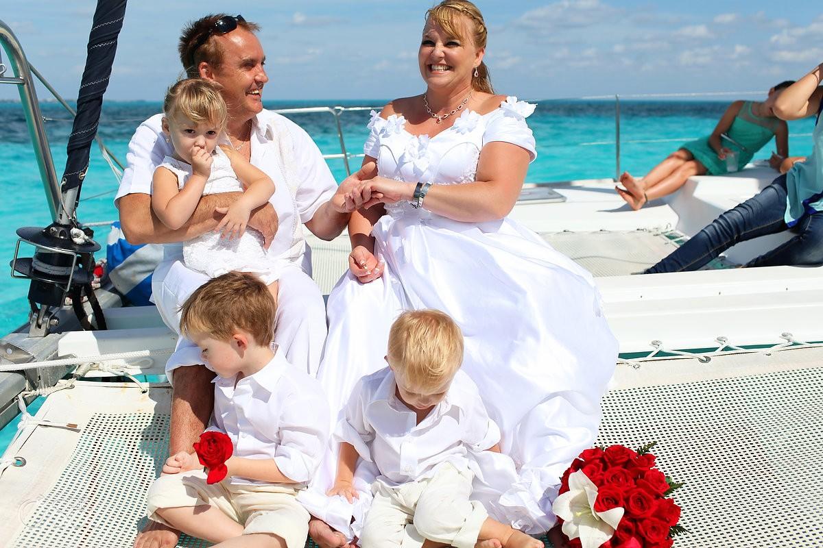 Cancun Catamaran Wedding with kids
