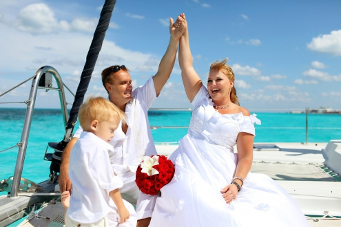Cancun Catamaran Wedding Photography
