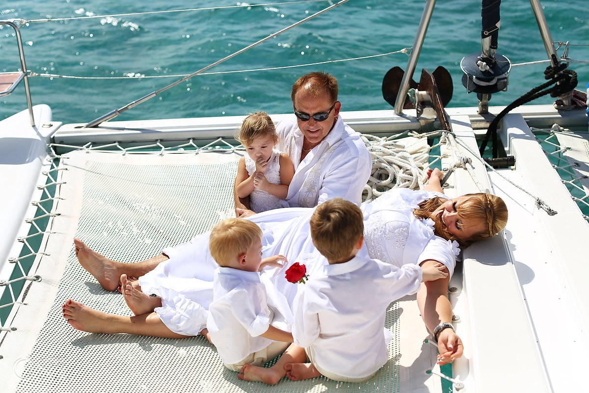 Cancun Catamaran Wedding guests