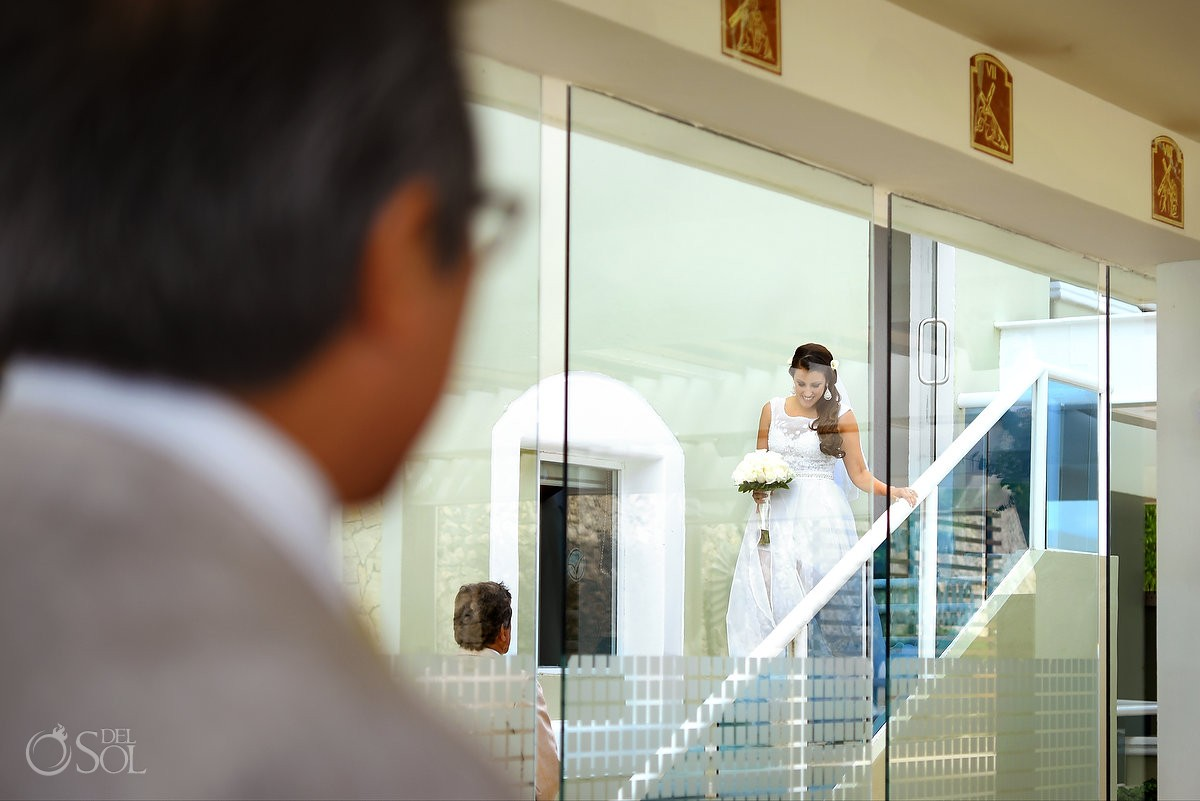 Bride enters Our Lady of Guadalupe Chapel religious Catholic wedding ceremony venue Cancun Mexico