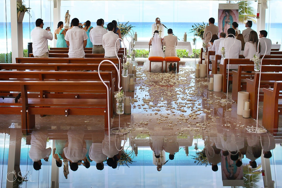 Artistic Reflection Our Lady Of Guadalupe Chapel Religious Catholic Wedding Ceremony Venue Cancun Mexico