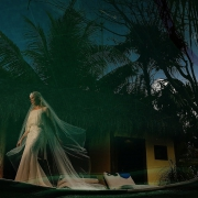 beautiful bride at cabanas la luna in tulum mexico