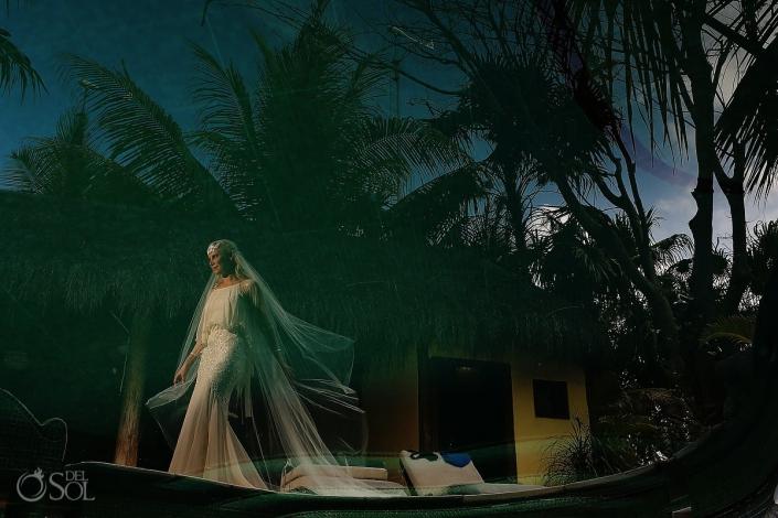 beautiful bride at cabanas la luna in tulum mexico