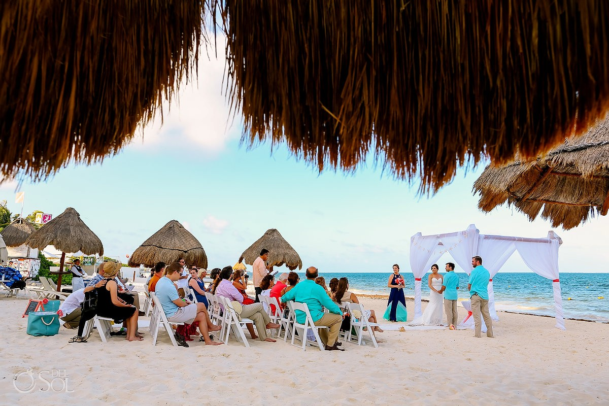 Beach wedding ceremony at Dreams Riviera Cancun Resort
