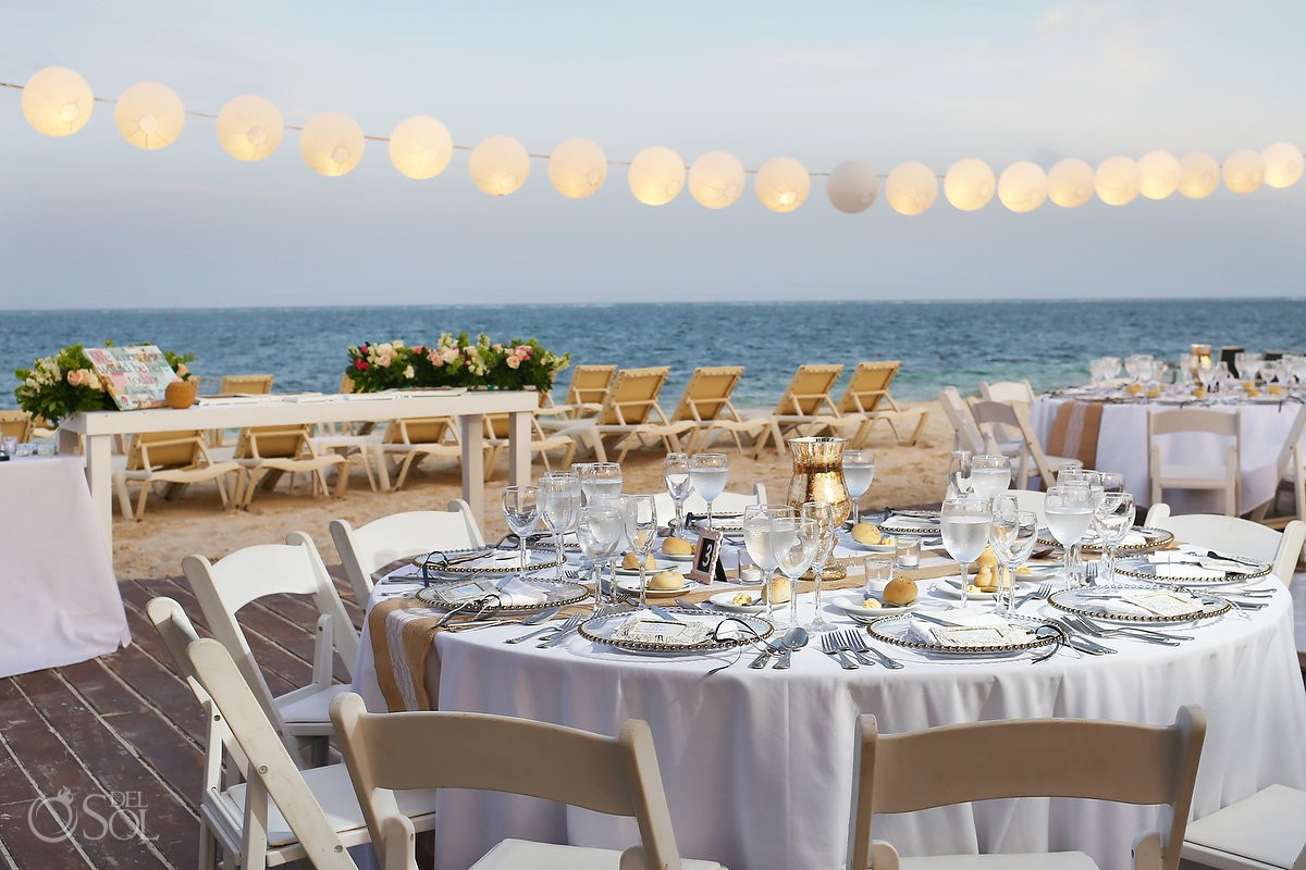 Dreams Riviera Cancun Weddings reception table setup
