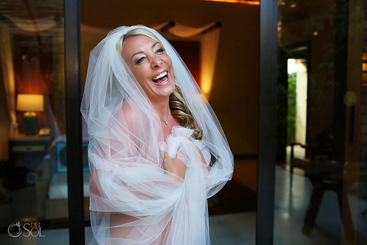 Bride boudoir veil Wedding at Viceroy Riviera Maya