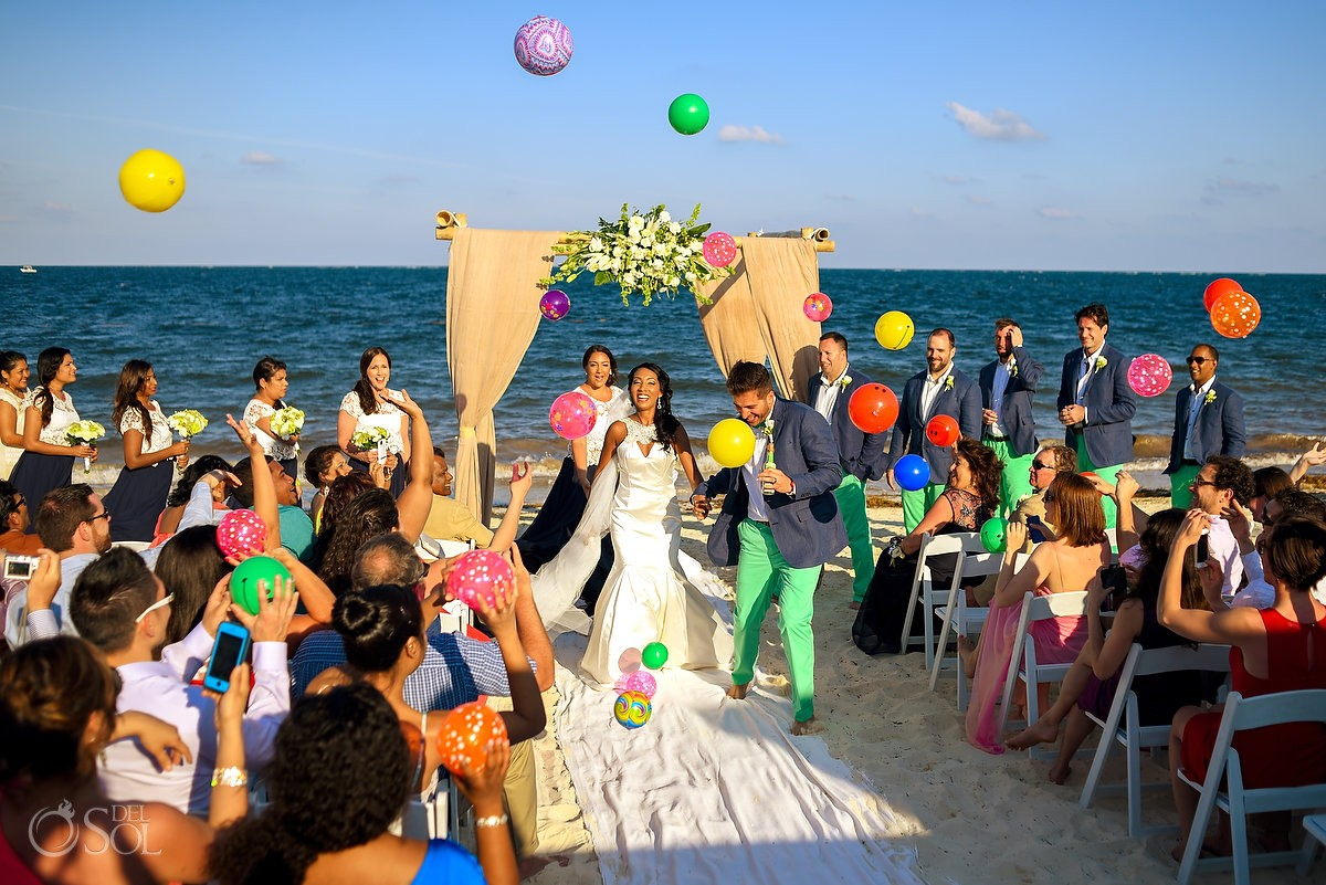 Now Sapphire Resort Beach Wedding ceremony photo ideas guests throw beach balls