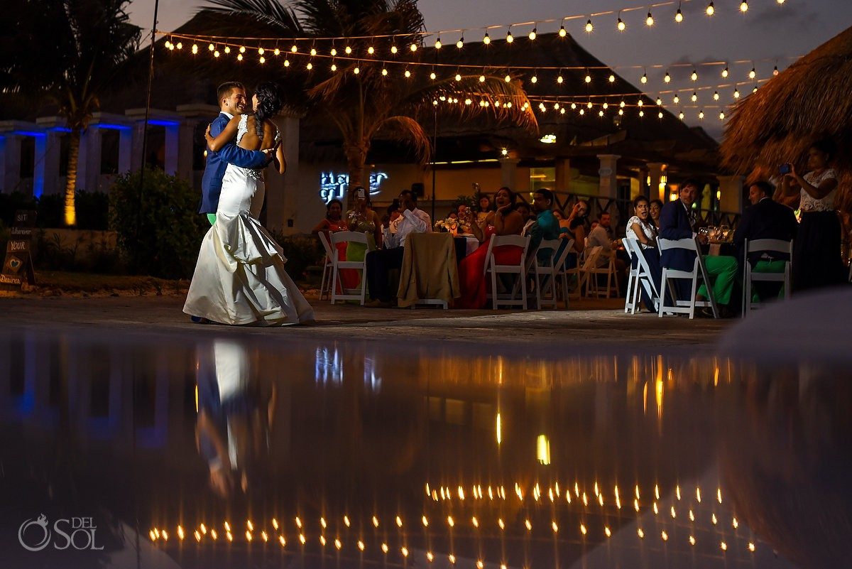 Now Sapphire Resort Beach Wedding reception first dance