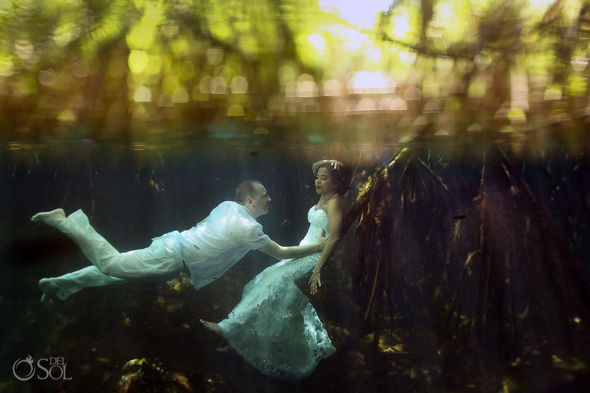 Riviera Maya Cenote Trash the Dress