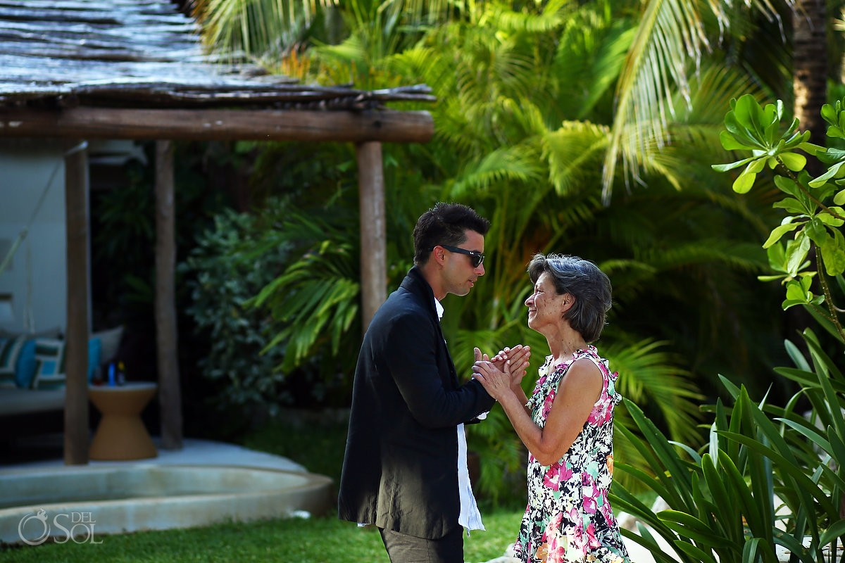 Groom and mother emotional moment family love Viceroy Riviera Maya Mexico