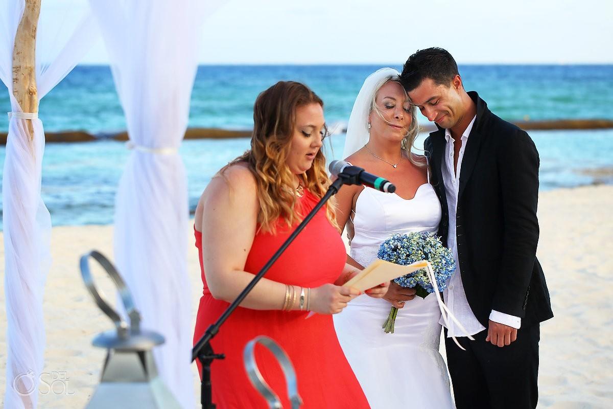 Friend guest speaks Mayan beach wedding Viceroy Riviera Maya Mexico