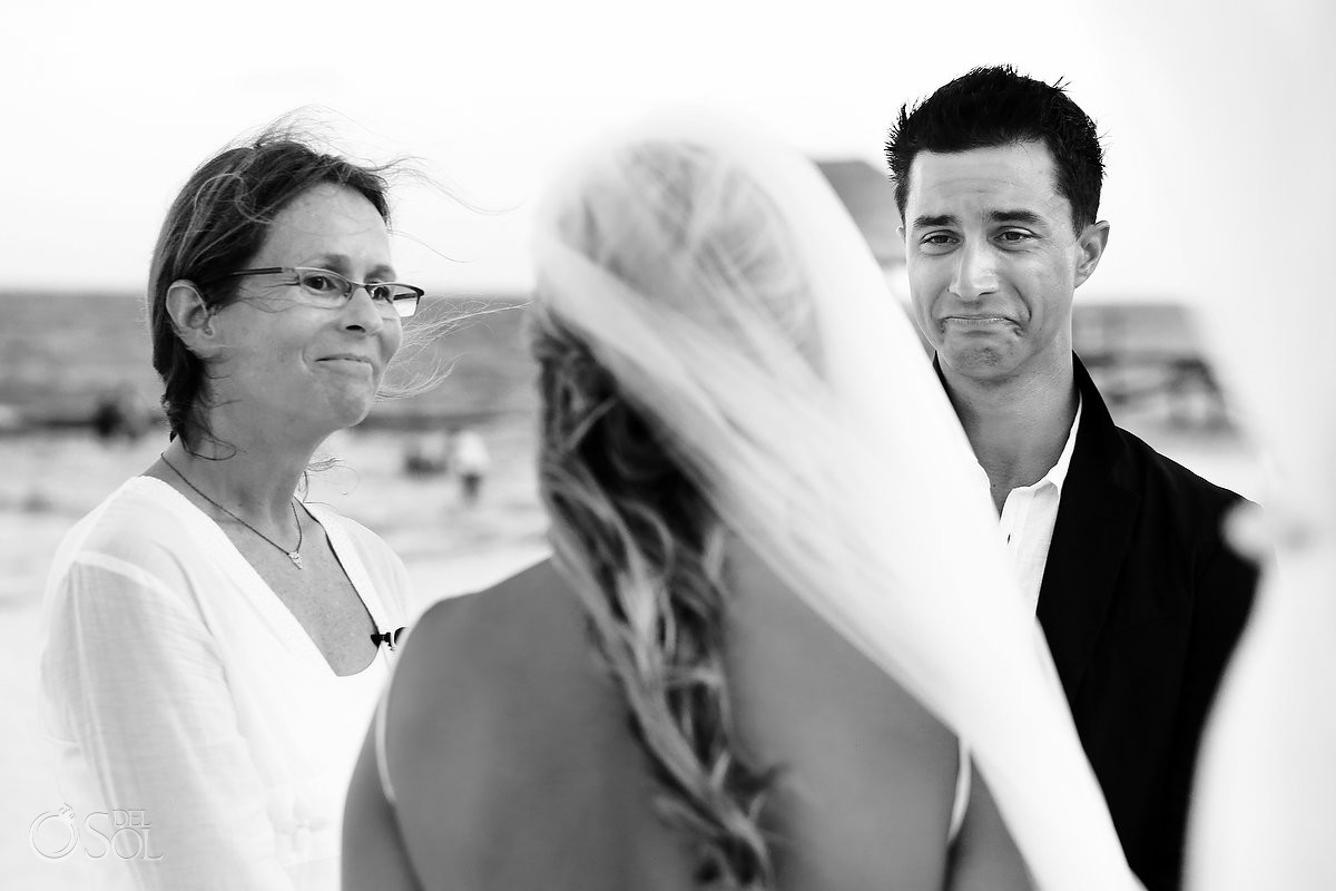Emotional groom crying Mayan beach wedding Viceroy Riviera Maya Mexico