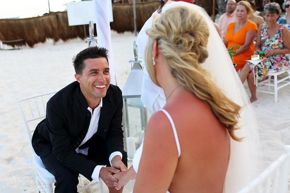 Groom look bride Mayan beach wedding Viceroy Riviera Maya Mexico