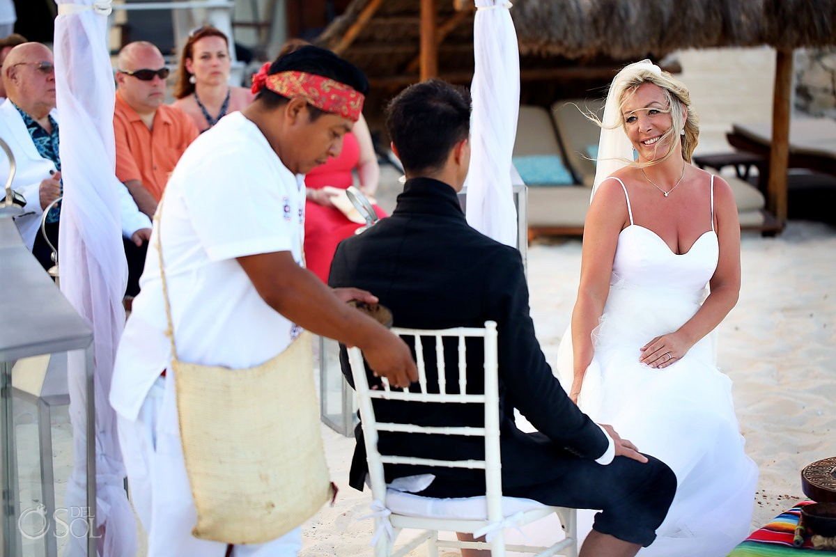 Bride Mayan beach wedding Viceroy Riviera Maya Mexico