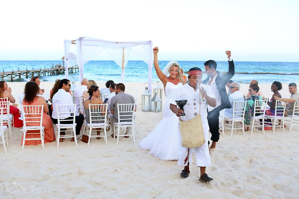 Ceremony exit Mayan beach wedding Viceroy Riviera Maya Mexico