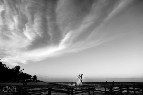 Viceroy Riviera Maya pier jetty wedding portrait black white