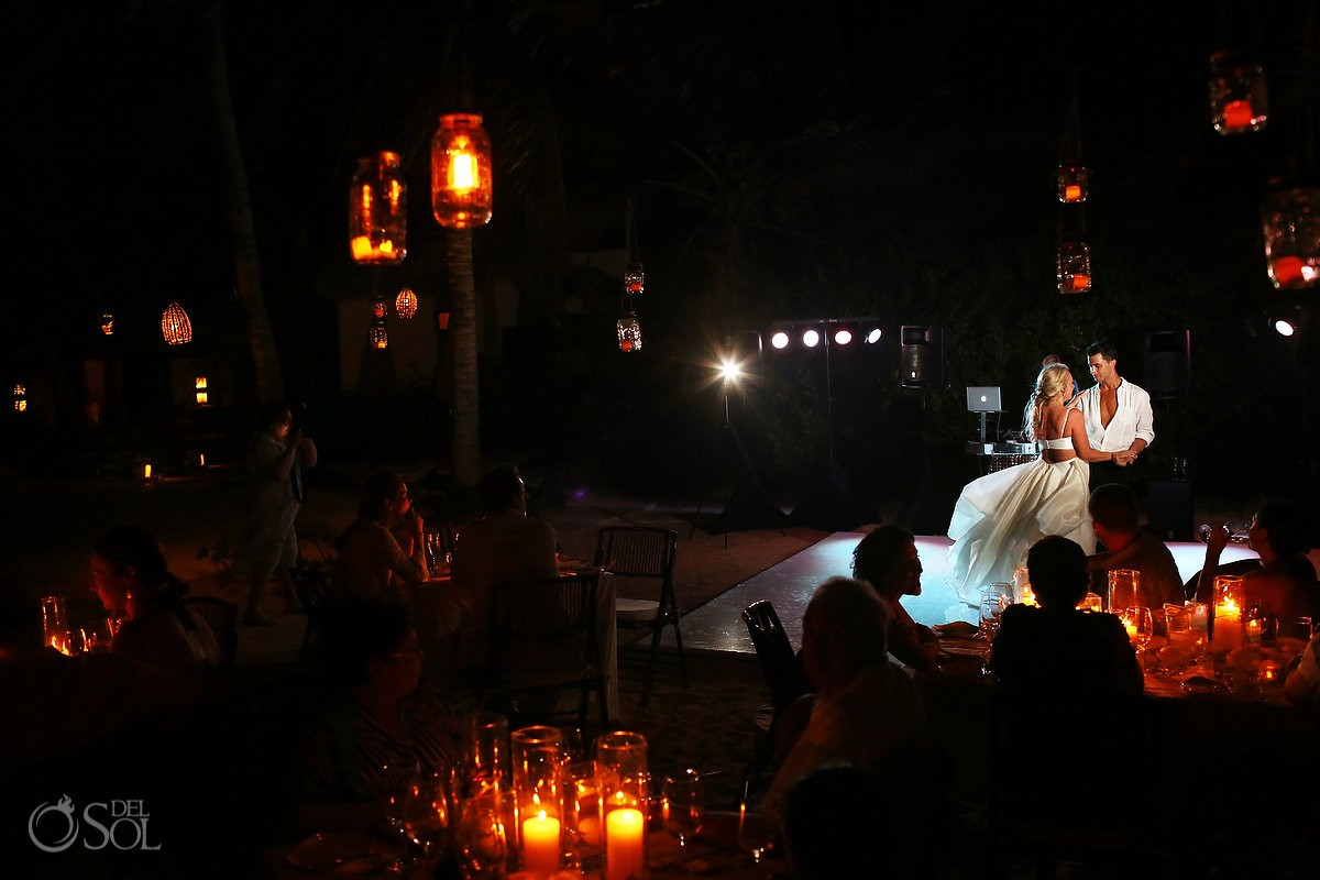bride groom dance beach reception Viceroy Riviera Maya Mexico