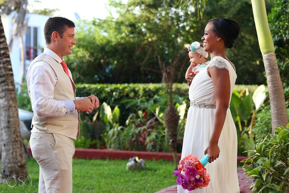 include your children in your wedding ceremony first look la buena vida akumal mexico