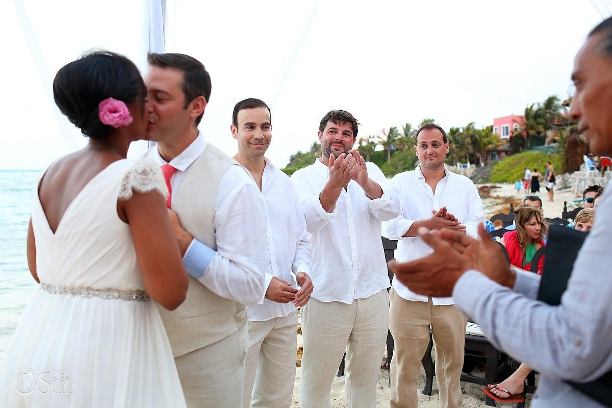 Akumal Wedding Buena Vida first kiss