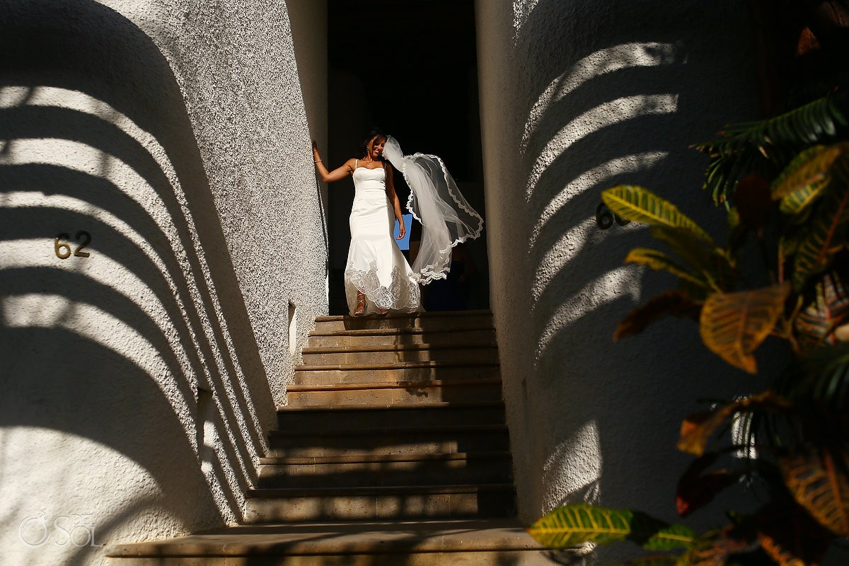 Bride wearing Galia Lahav destination wedding at belmond maroma resort