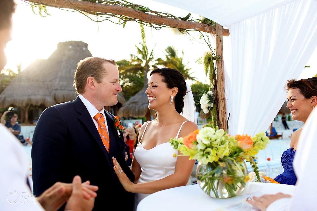 Destination wedding photo of bride and groom on beach at belmond maroma resort