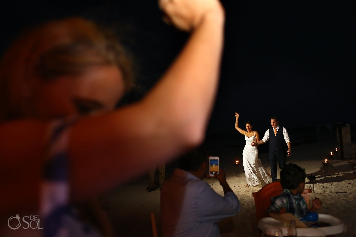 bride and groom dance on the beach wedding reception at belmond maroma resort
