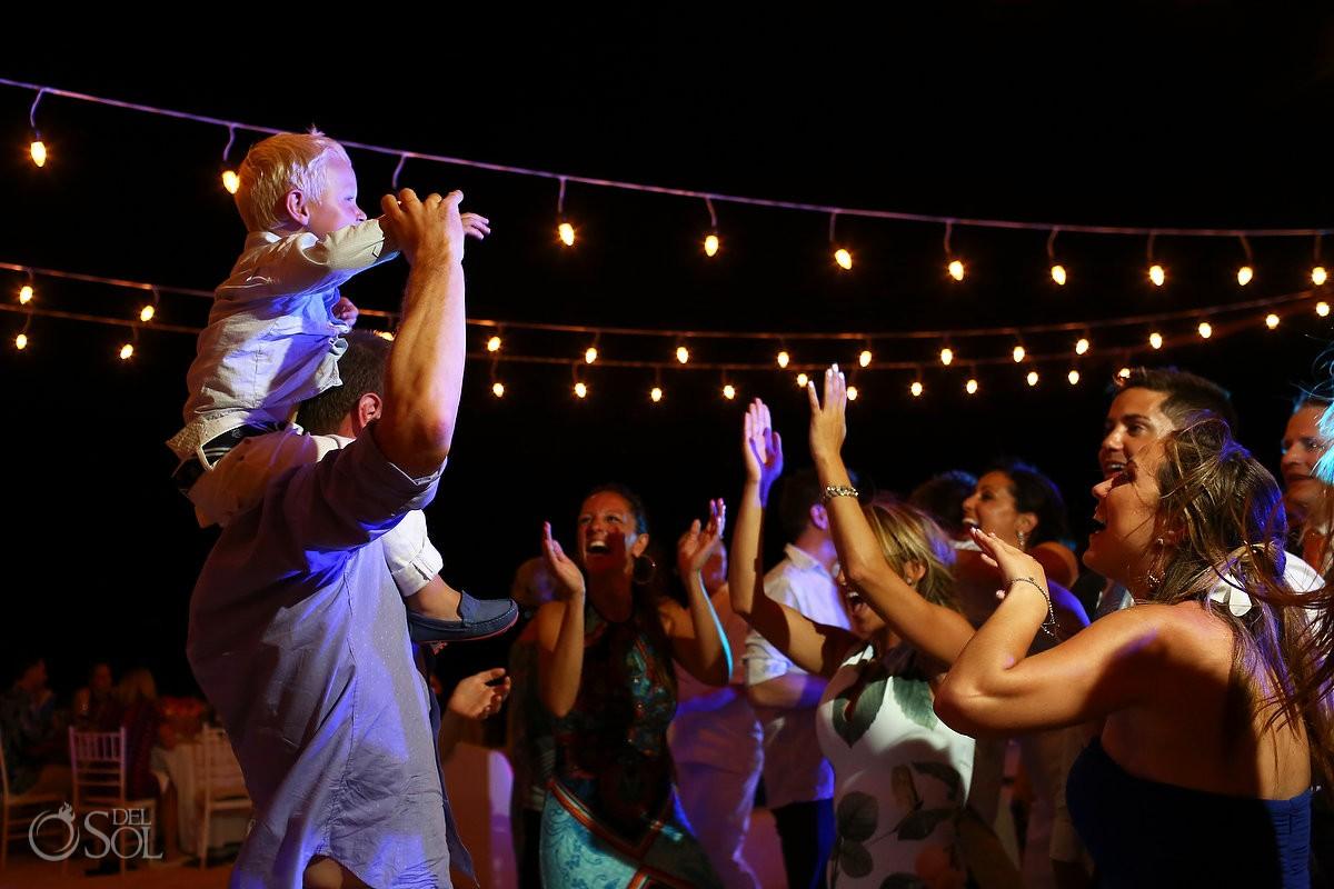destination wedding photo at beach reception at belmond maroma resort mexico
