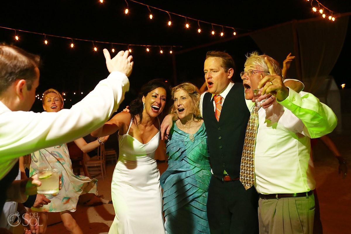 wedding guests dancing at belmond maroma resort and spa