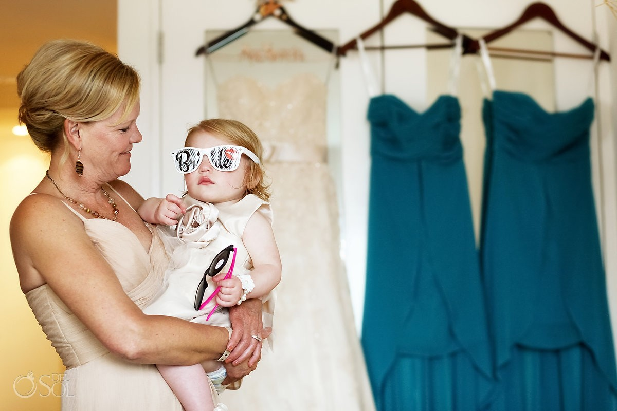 cutest kids at weddings wearing bride sunglasses flowergirls