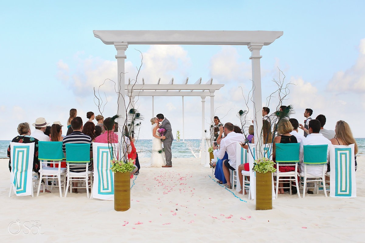 Destination wedding at the Playacar Palace Beach