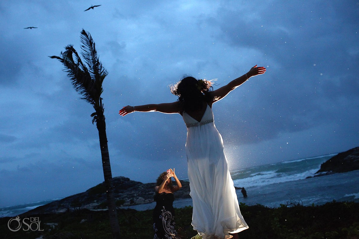 rainy destination wedding photo at El Pez hotel Tulum