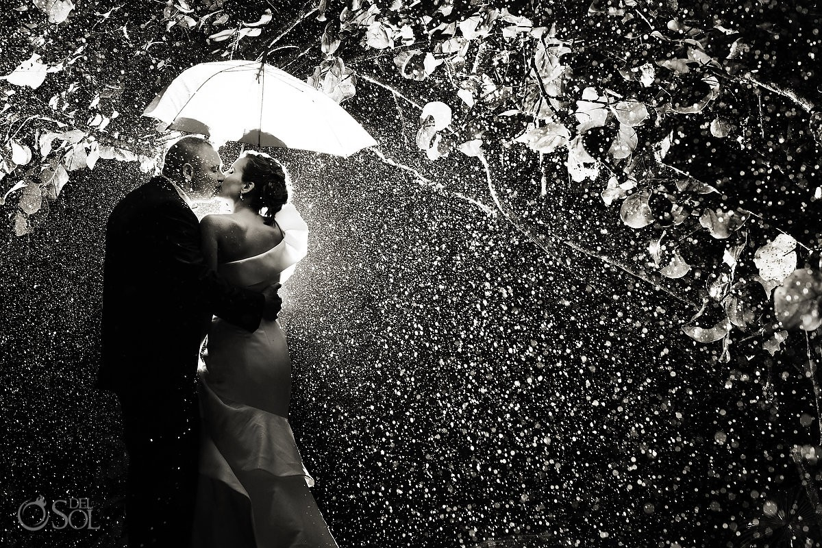 black and white rainy wedding portrait in mexico