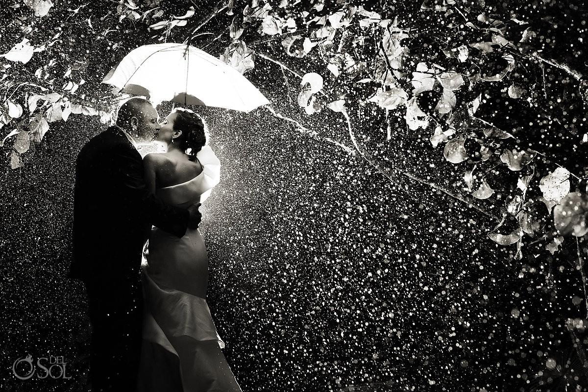 black and white rainy wedding portrait in mexico