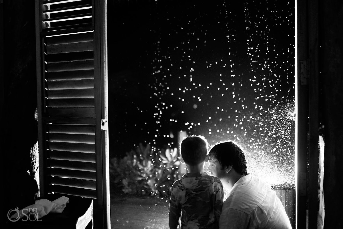 wedding guest watch the rain at el pez tulum hotel