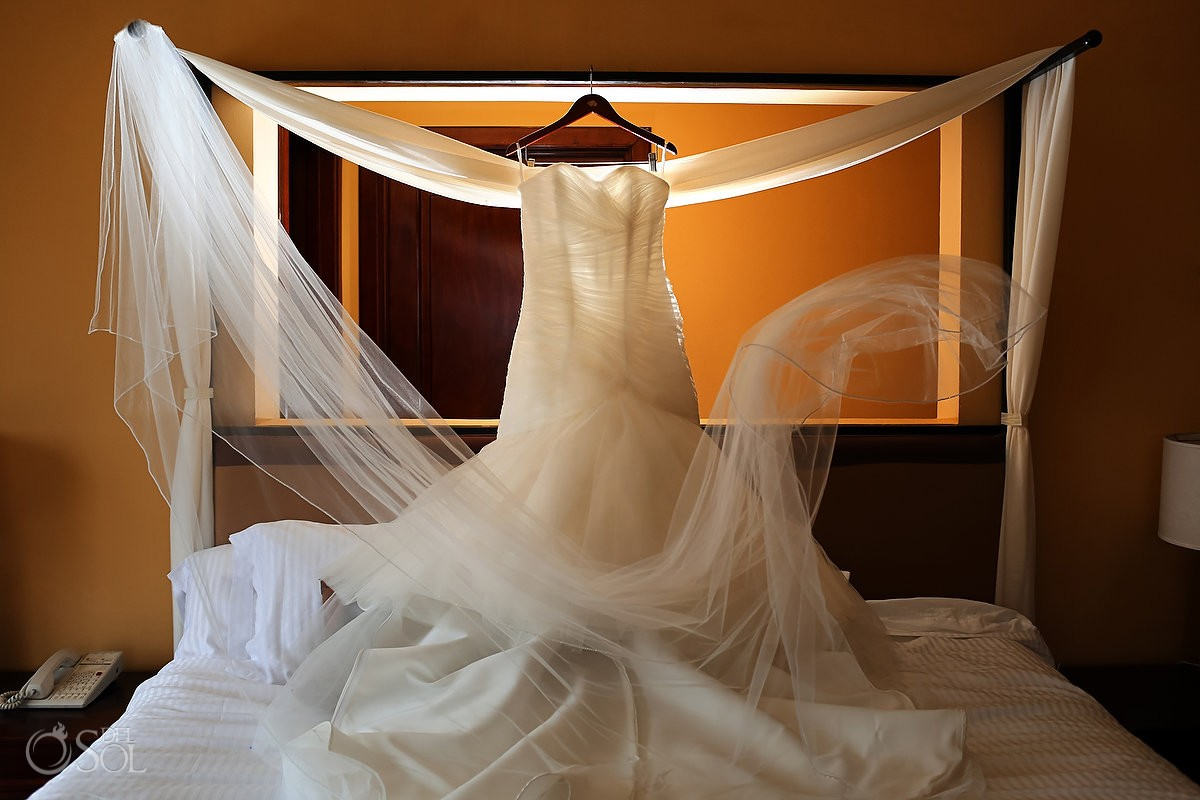 wedding dress by Mori Lee at dreams tulum hotel mexico
