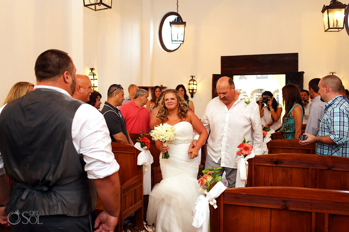 bride walking during wedding processional in dreams tulum chapel