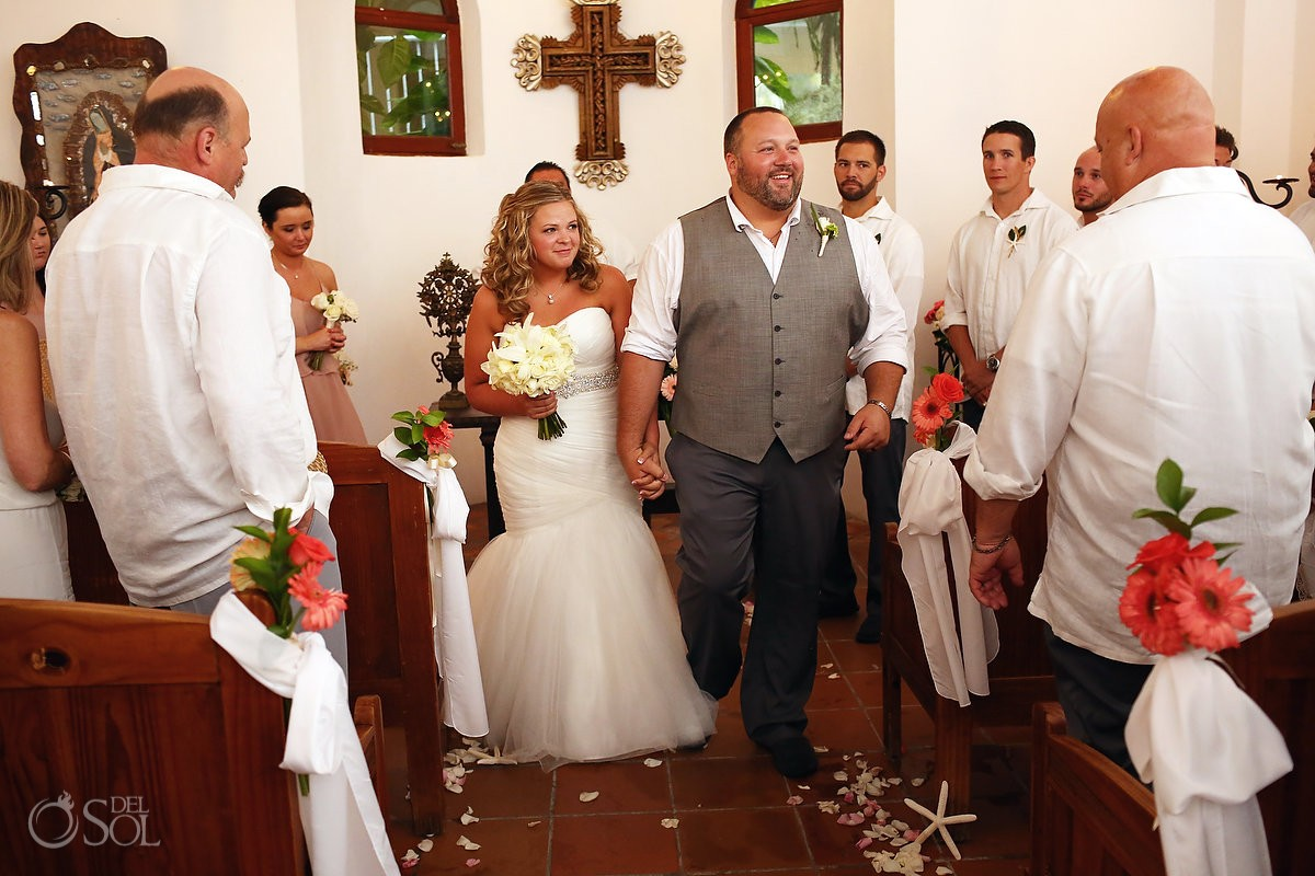 bride and groom ceremony exit inside dreams tulum wedding chapel