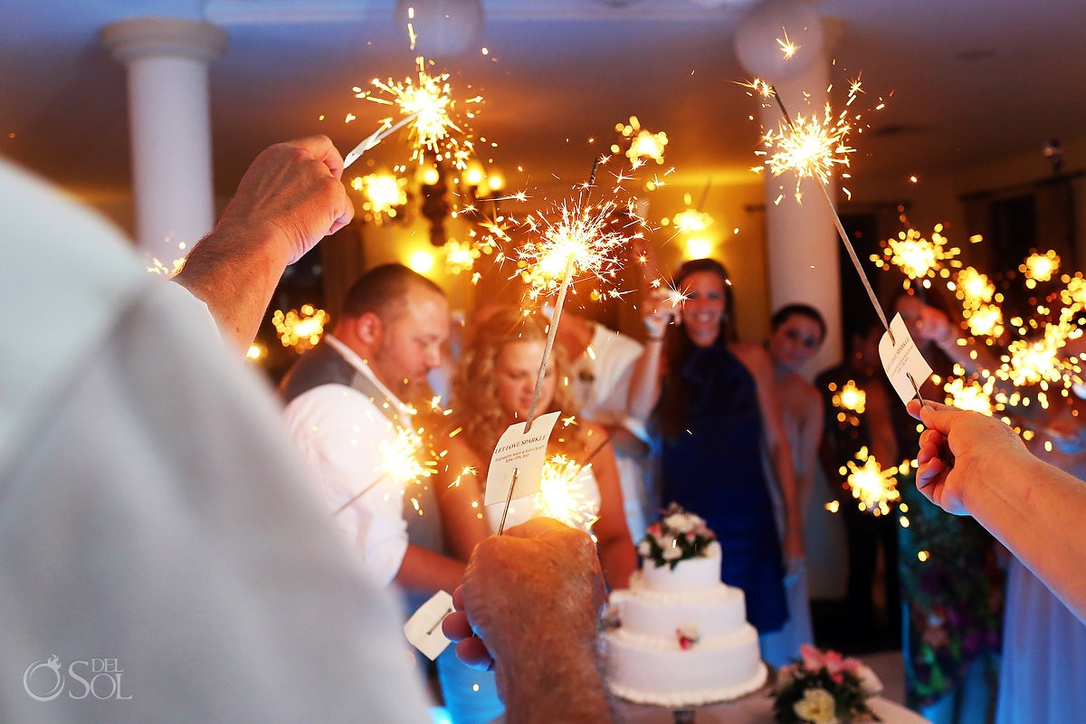 sparklers at destination wedding reception at dreams tulum hotel