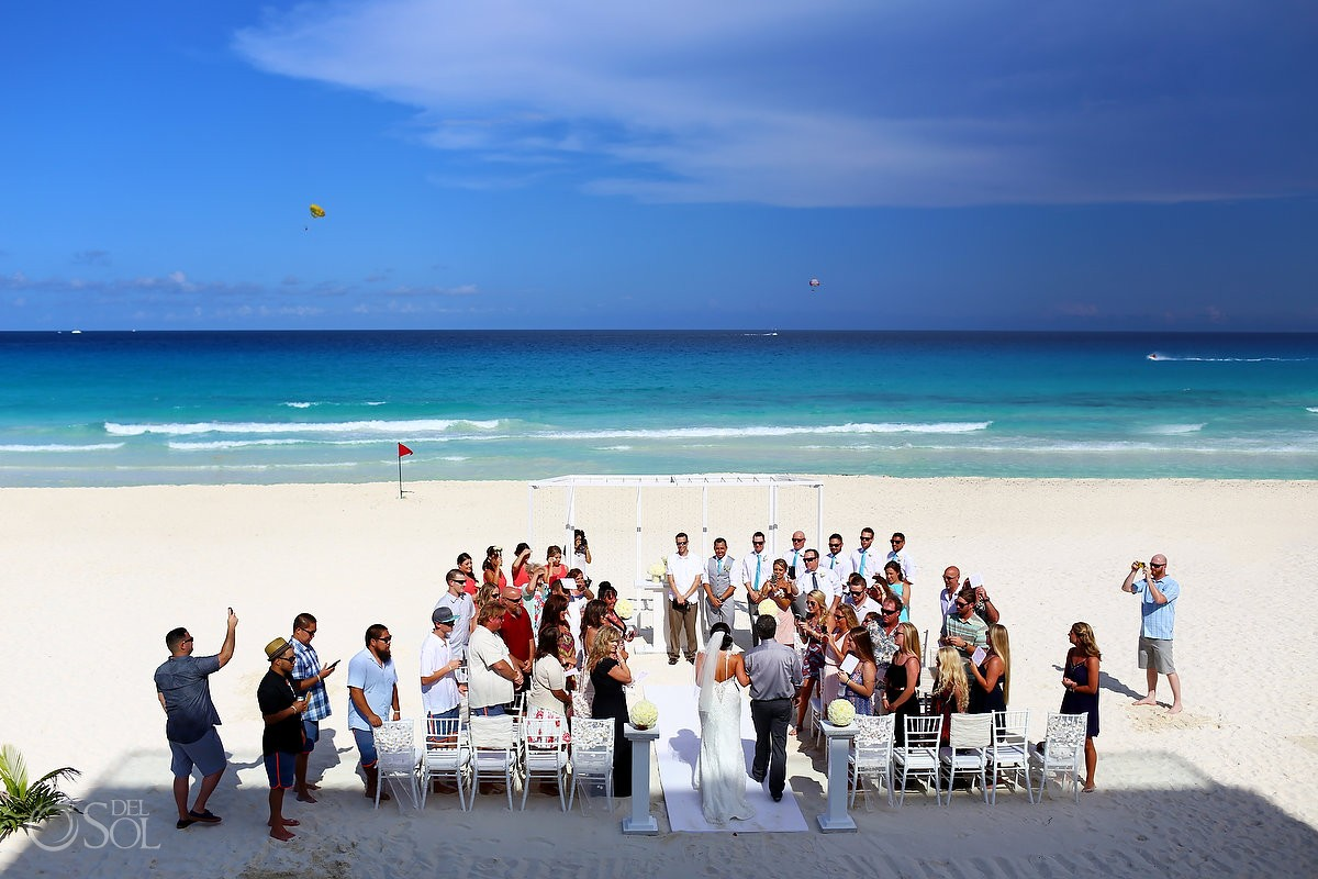 Beach wedding at the Hard Rock Cancun Resort