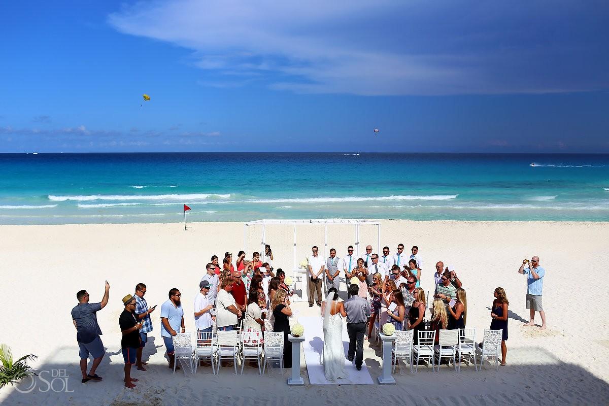Beach wedding at the Hard Rock Cancun Resort