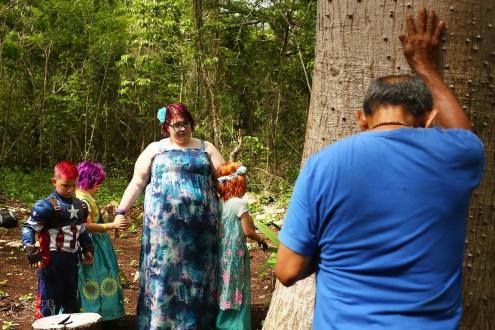 Mayan Shaman prays to the ceiba tree
