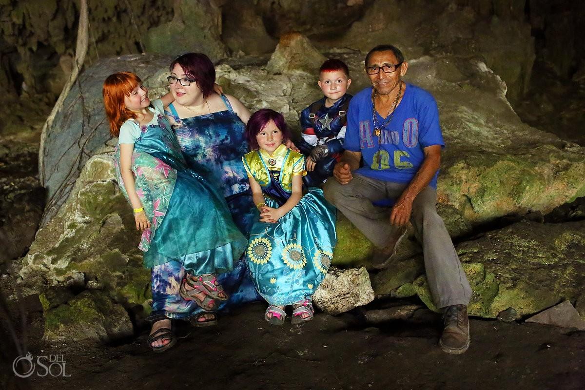 family poses with mayan shaman don alvaro