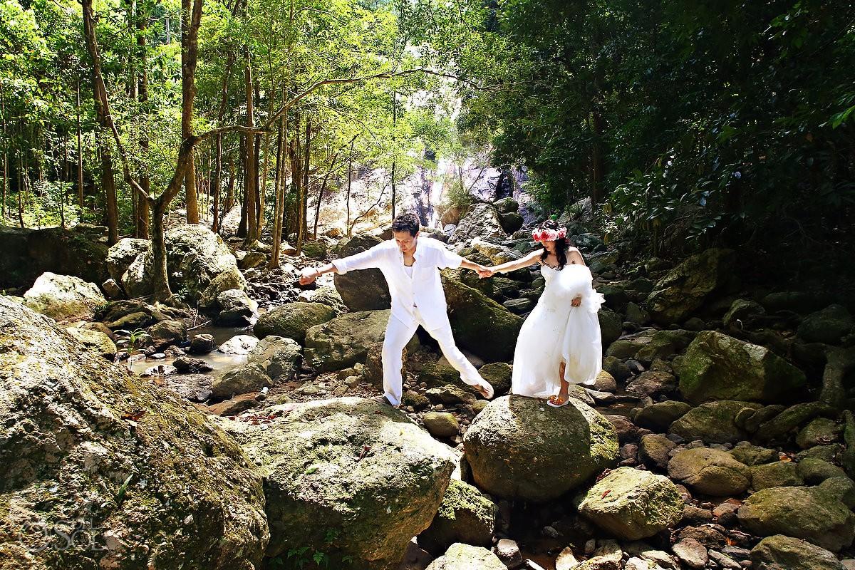 Thailand Trash the Dress Waterfall photography Koh Samui